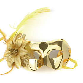 Golden Ostrich Feathers Masquerade Mask