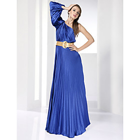 Elastic Woven Satin A-line One Shoulder Floor-length Evening Dress inspried by Eva Mendes