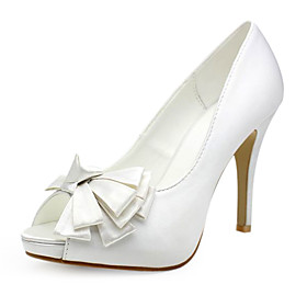 Satin Upper Stiletto Heel Pumps/ Peep Toe With Bowknot Wedding Shoes More Colors Available