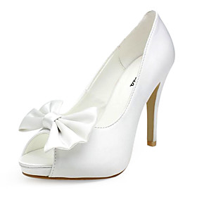 Satin Upper Stiletto Heel Pumps/ Peep Toe With BowknotWedding Shoes More Colors Available