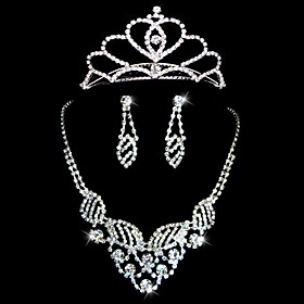 Gorgeous Rhinestones Wedding Jewelry Set,Including Necklace,Tiara And Earrings