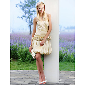 A-line Sweetheart Short Mini Taffeta Wedding Dress