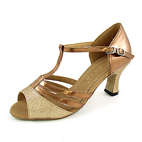 Leatherette/Sparkling Glitter Upper Peep Toe With Buckle Dance Shoes Ballroom Latin Shoes for Women