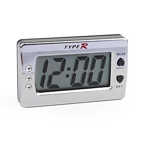 LCD Digital Car Dashboard Desk Clock - Silver