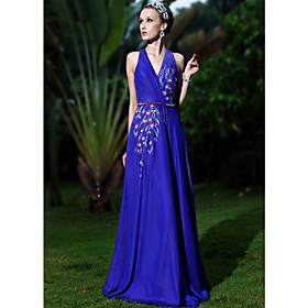 A-line/ Princess V-neck Floor-length Elastic Woven Satin With Beading Evening/ Prom Dress