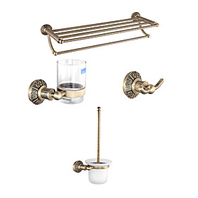 Antique Brass 4-Pieces Bathroom Accessory Set