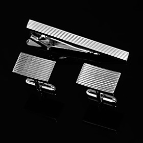 Rectangle Zinc Alloy Cufflinks And Tie Cilp