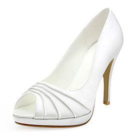 Satin Upper Stiletto Heel  Pumps/ Peep Toe With Ruched Wedding Shoes More Colors Available