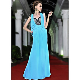 A-line/ Princess Sweetheart Floor-length Chiffon With Beading Evening/ Prom Dress