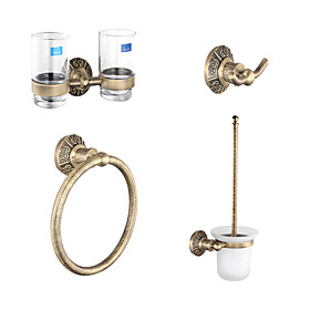 Antique Brass 4-piece Bathroom Accessory Set