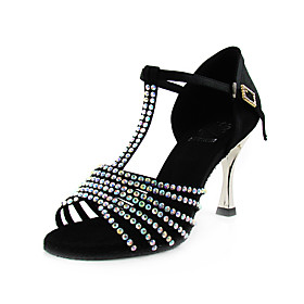 High Quality Performance Latin Dance Shoes Satin Upper With Crystal for Women