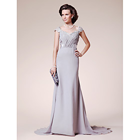 A-line Straps Court Train Chiffon Mother of the Bride Dress