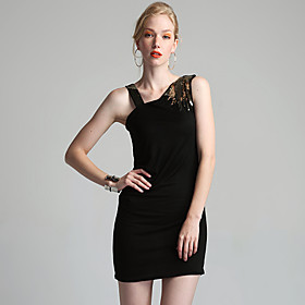 Asymmetrical Embellish Shoulder Dress (FF-T-CD1305002)