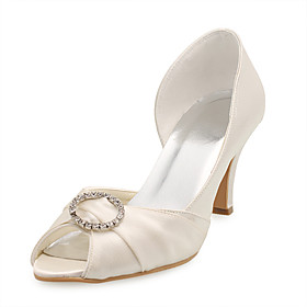 Satin Upper Stiletto Heel Peep Toe With Rhinestone Wedding Shoes More Colors Available