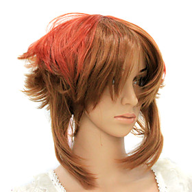 Capless Heat-resistant Brown Warped Costume Party Wig
