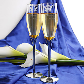 Personalized Toasting Flutes - Love Swan