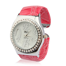 Stylish Bracelet Band Wrist Watch with Crystals - Pink