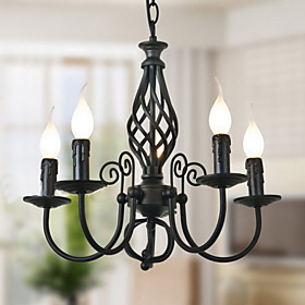 Black Chandelier with 5 Lights in Classic Style