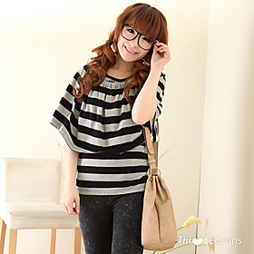 Bows Shawl Clock Stripes Short Loose T-shirt