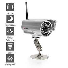 Apexis - Weatherproof Wireless IP Camera with Night Vision and Motion Detection