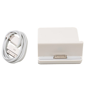 3.5mm USB Data Charging Docking Station with Cable for iPad (White)