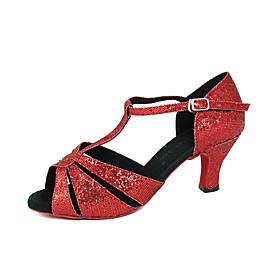 Sparkling Glitter Upper Ballroom Dance Shoes High Heel Latin Shoes for Women