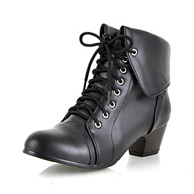 Leatherette Upper Chunky Heel Ankle Boots With Lace-up Honeymoon Shoes More Colors Available