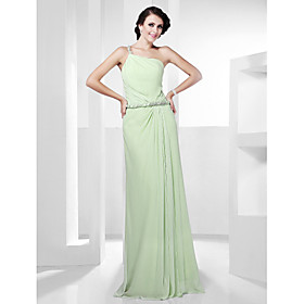 Sheath/ Column Sleeveless One Shoulder Floor-length Chiffon Evening Dress