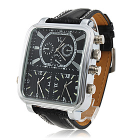 Men's 3-PC Quartz Wrist Sports Watch with Black Leather Band