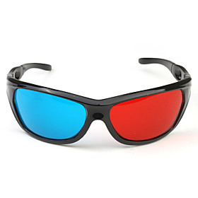 Sport Style Re-useable Plastic Frame Resin Lens Anaglyphic Blue  Red 3D Glasses