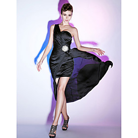 Sheath/ Column One Shoulder Sweep/ Brush Train Chiffon Evening Dress