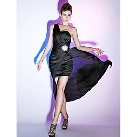 Sheath/ Column One Shoulder Sweep/ Brush Train Chiffon Evening Dress