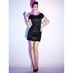 Sheath/ Column Bateau Short/ Mini Sequined Cocktail Dress