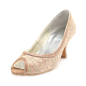 Lace Upper Stiletto Heel Pumps With Sparkling Glitter Wedding Shoes More Colors Available