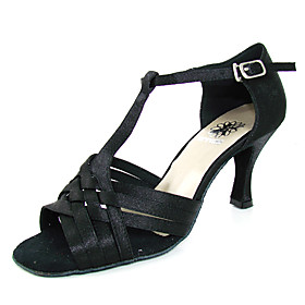 Satin Upper Latin Dance Shoes With Buckle Ballroom Practice Shoes for Women