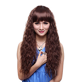 Capless Extra Long Top Grade Quality Synthetic Brown Curly Beautiful Hair Wig