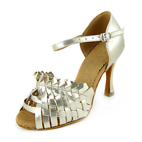 Performance Golden Leatherette Upper Dance Shoes Latin Shoes for Ladies
