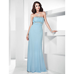 Trumpet/ Mermaid Strapless Floor-length Chiffon Evening Dress