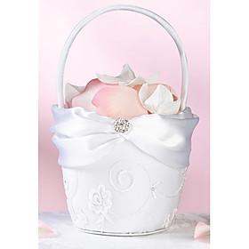 Pure White Flower Girl Basket In White Lace With Delicate Embroidery