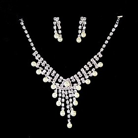White Rhinestone/ Freshwater Pearls And 925 Silver Necklace And Earrings Jewelry Set