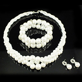 Gorgeous Alloy With Imitation Pearl Wedding Bridal Jewelry Set Including Necklace Bracelet And Earrings
