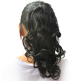 "High Quality Synthetic 12.60"" Curly Natural Black Ponytail"