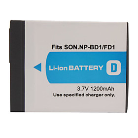 1200mAh 3.7V Digital Camera Battery NP-BD1/FD1 for SONY T200 and More