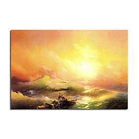 Hand-painted Oil Painting The Ninth Wave by Ivan Konstantinovich Aivazovsky with Stretched Frame