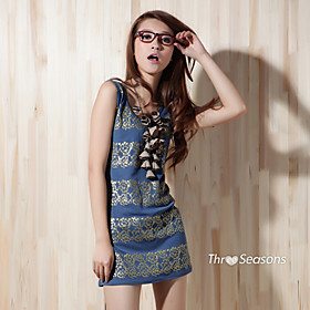 TS Retro Printed Sleeve Vest Dress