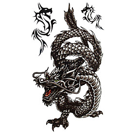 5 Pcs Black Dragon Waterproof Temporary Tattoo (20cm 10cm)