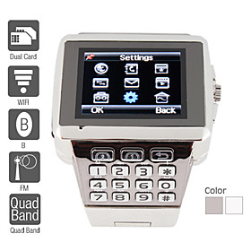 Premiere - Dual SIM Quadband Stainless Steel Cell Phone Watch (WiFi, JAVA, MP3 / MP4)
