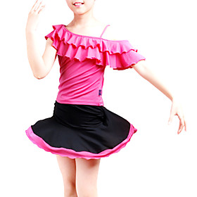 Ballroom Dancewear Set Polyester With Ruffles Latin Practice Top and Skirt for Kids