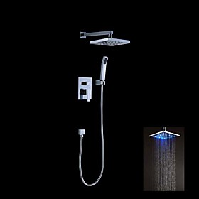 Contemporary Chrome Finish Color Changing LED Shower Faucet with 8 inch Shower Head and Hand Shower