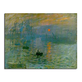 Hand-painted Oil Painting Impression, Sunrise/Impression, soleil levant by Claude Monet with Stretched Frame